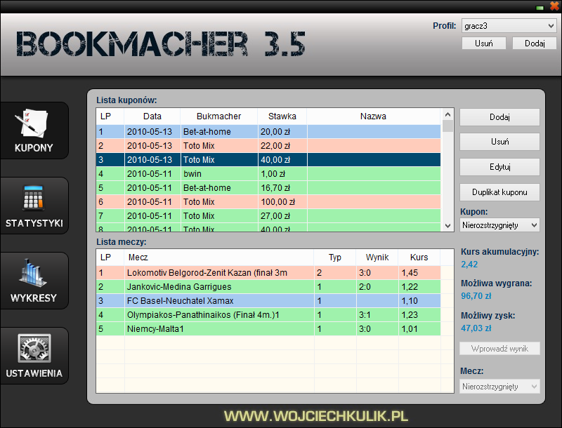 Bookmacher 3.5 [PL] - main screen