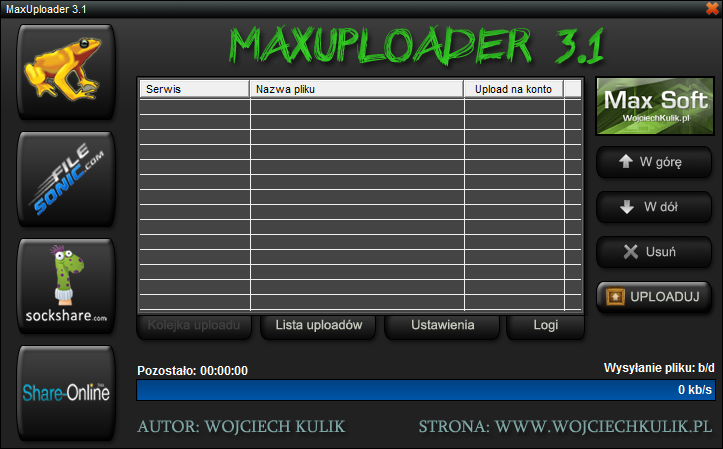 MaxUploader - main screen