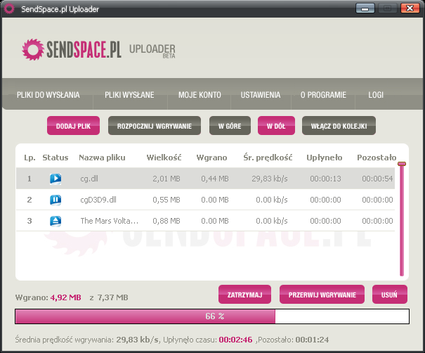 Sendspace Uploader - main screen