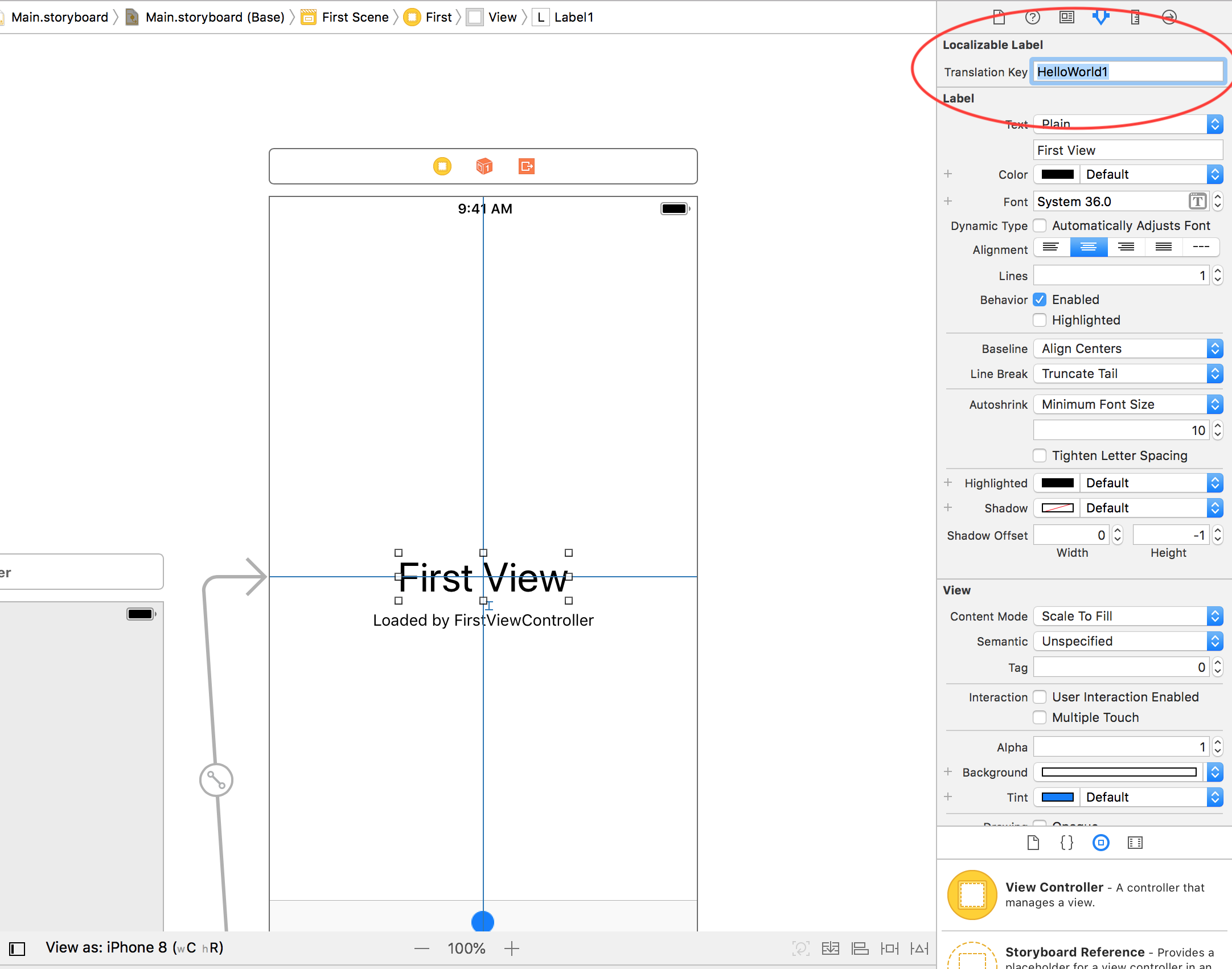 How to set translation key from Storyboard on iOS